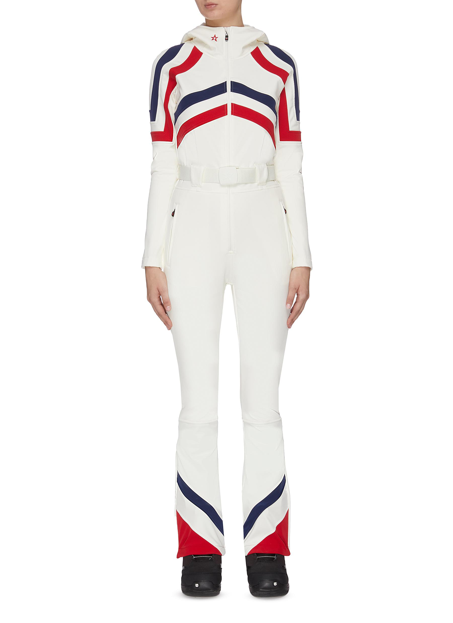 shop Perfect Moment Chevron stripe hooded zipper leg jumpsuit online