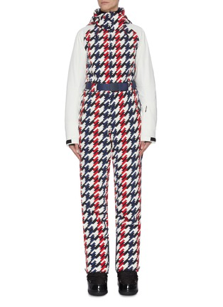 Main View - Click To Enlarge - PERFECT MOMENT - 'Chamonix' belted houndstooth print ski overalls