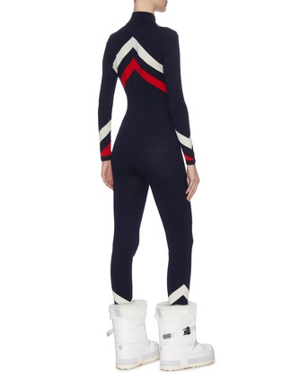 Back View - Click To Enlarge - PERFECT MOMENT - Chevron stripe ski overalls
