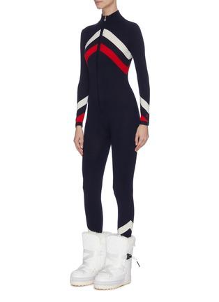 Front View - Click To Enlarge - PERFECT MOMENT - Chevron stripe ski overalls