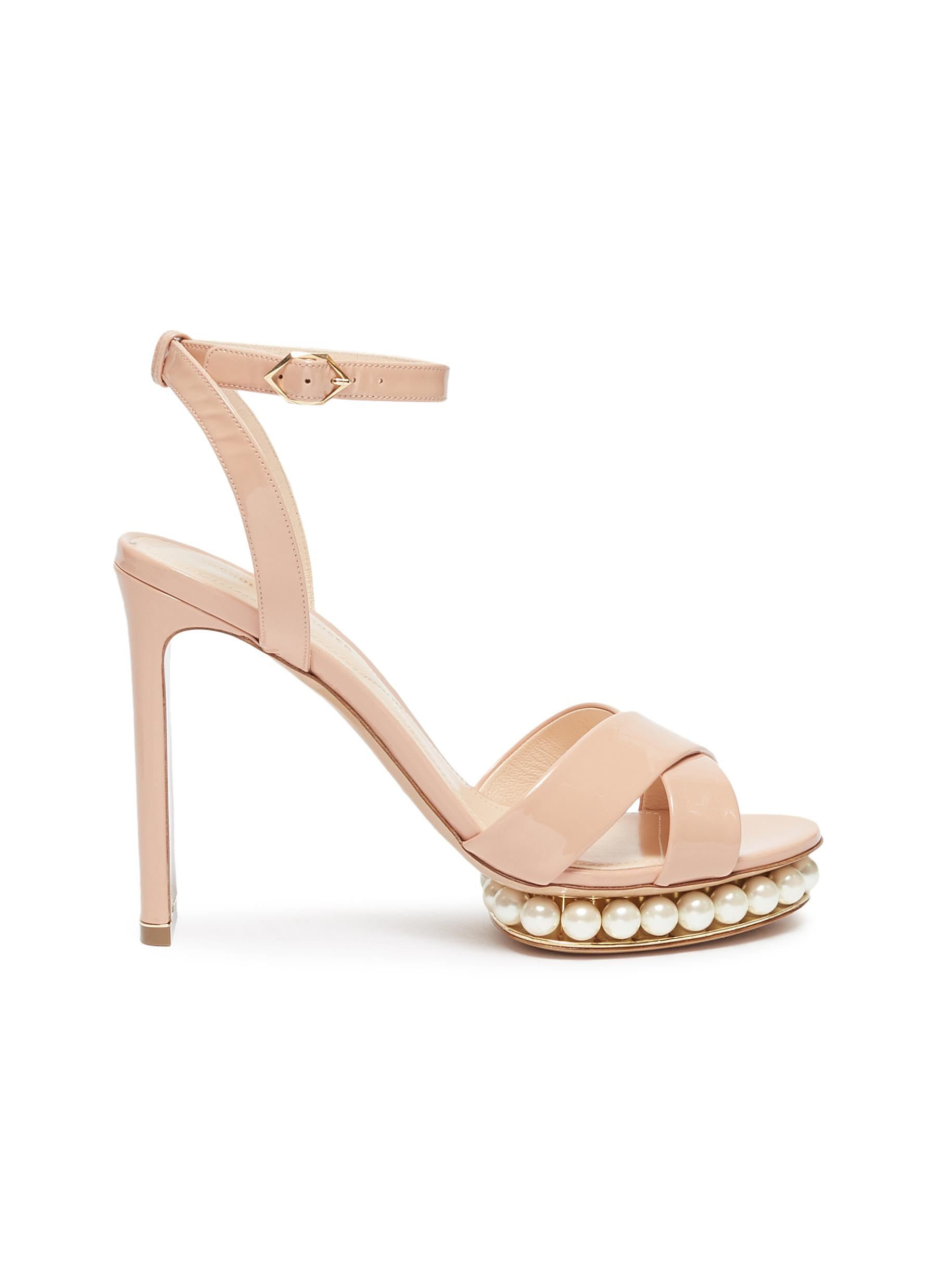 Casati faux pearl platform ankle strap patent leather sandals by Nicholas Kirkwood