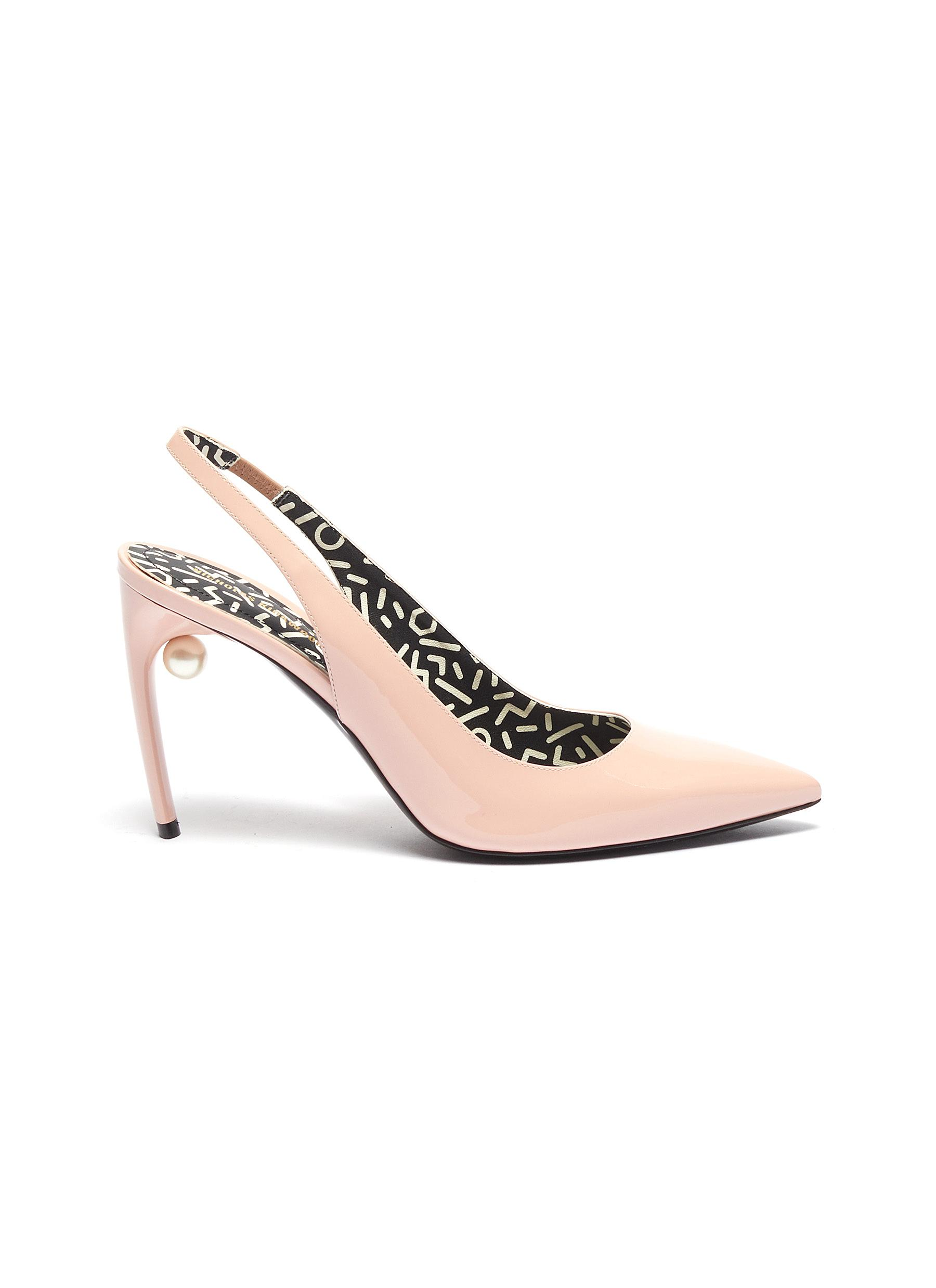 Mia faux pearl patent leather slingback pumps by Nicholas Kirkwood