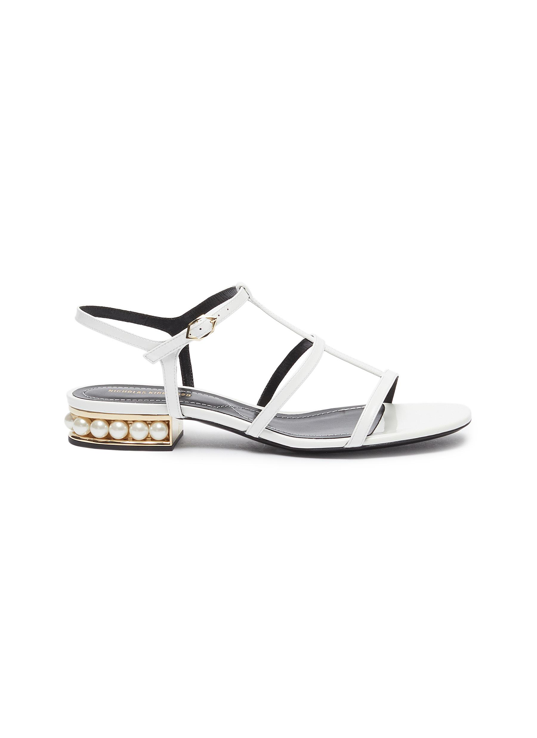 Casati faux pearl heel caged patent leather sandals by Nicholas Kirkwood