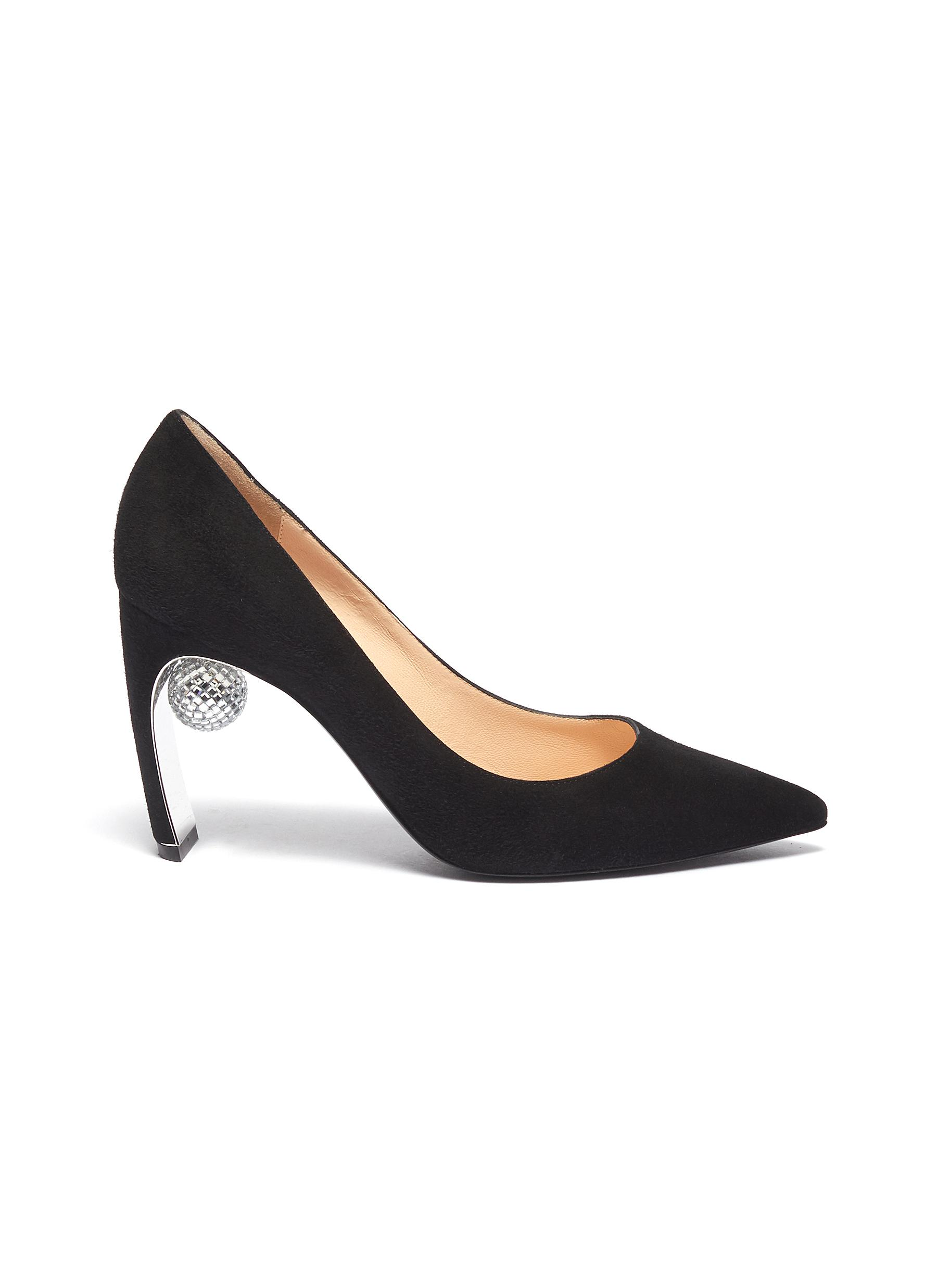 Maeva glass crystal ball suede pumps by Nicholas Kirkwood