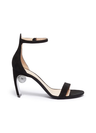 Main View - Click To Enlarge - NICHOLAS KIRKWOOD - 'Maeva' glass crystal ball ankle strap suede sandals