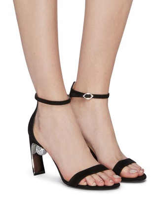 Figure View - Click To Enlarge - NICHOLAS KIRKWOOD - 'Maeva' glass crystal ball ankle strap suede sandals