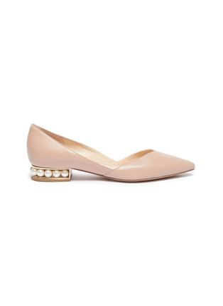 Main View - Click To Enlarge - NICHOLAS KIRKWOOD - 'Suzi' faux pearl heel d'Orsay leather flats