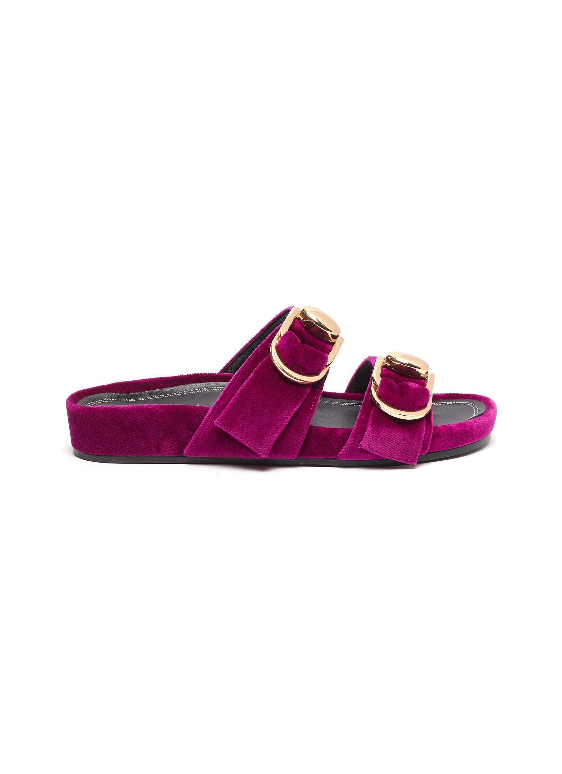Turnlock buckle velvet slide sandals by Stella Luna