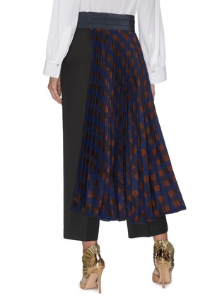 Back View - Click To Enlarge - SILVIA TCHERASSI - 'Dorothy' belted mixed check asymmetric pleated midi skirt