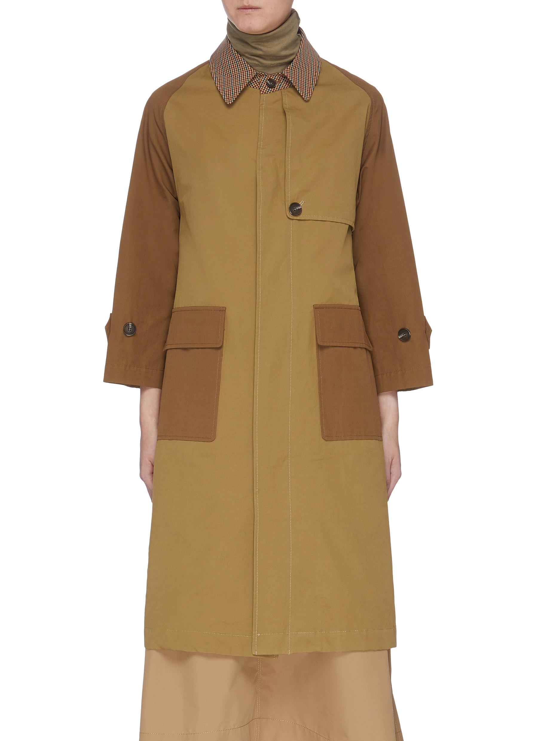 Gingham check collar colourblock flap pocket trench coat by Mijeong Park