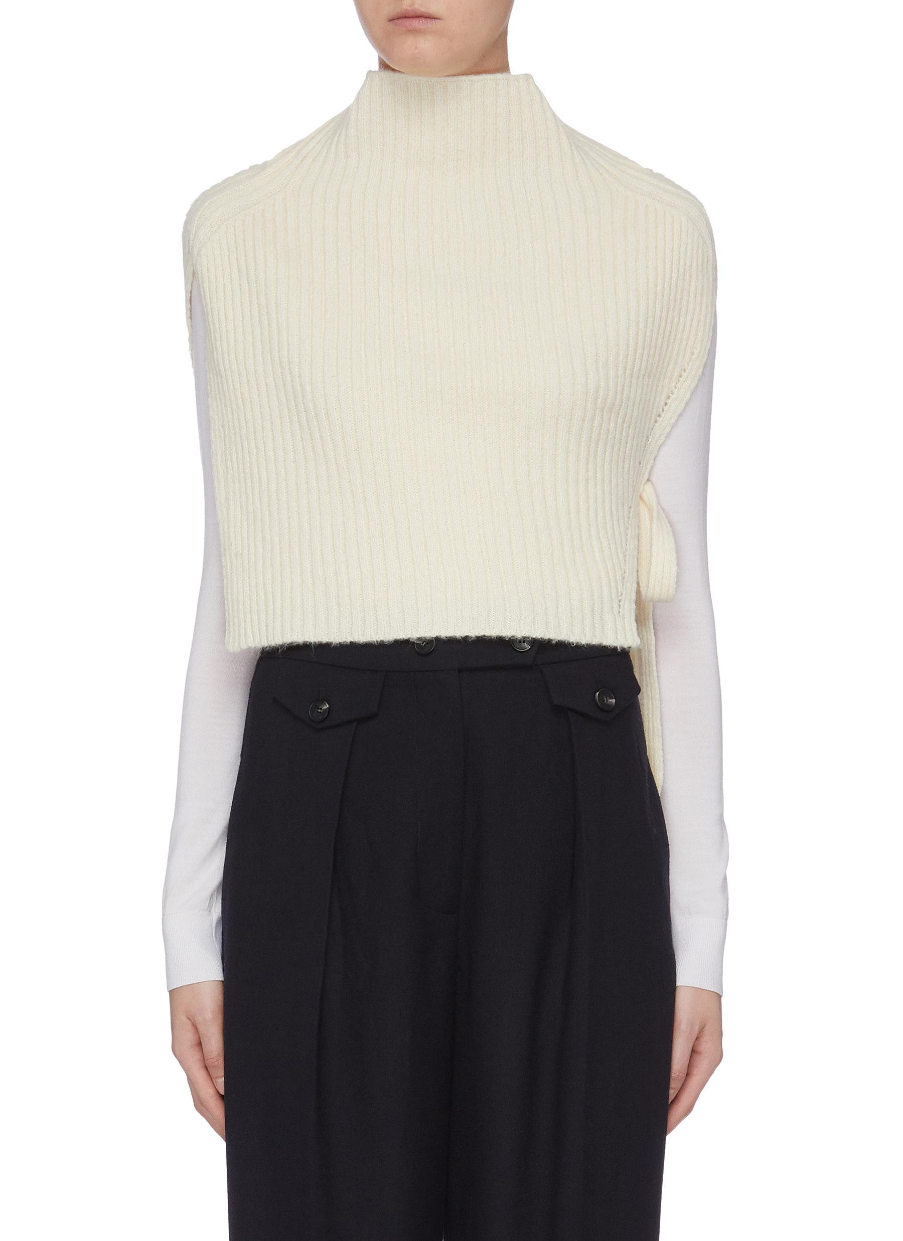 Tie side rib knit high neck vest by Mijeong Park