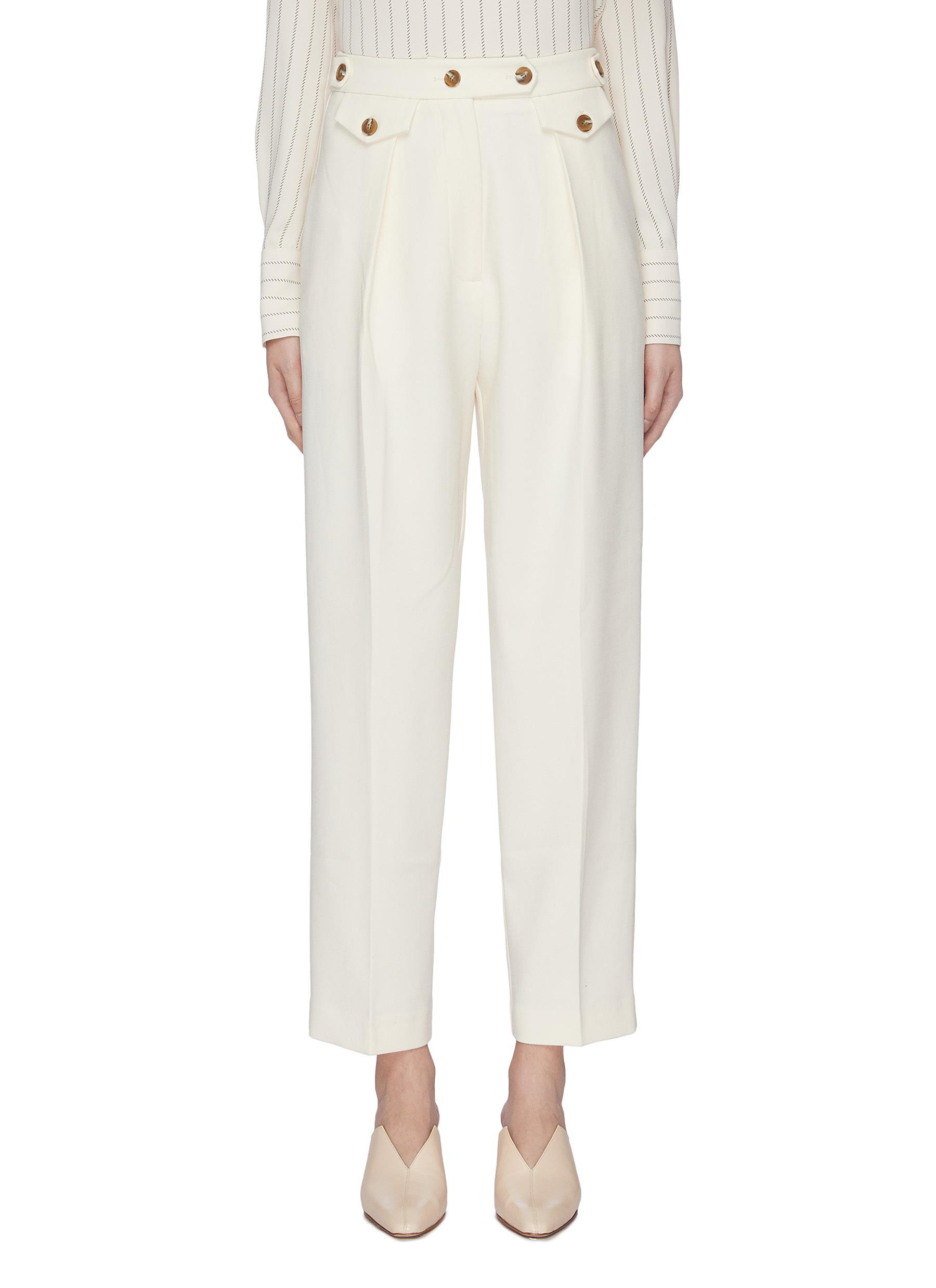Button waist suiting pants by Mijeong Park