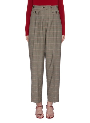 Main View - Click To Enlarge - MIJEONG PARK - Button waist check plaid suiting pants