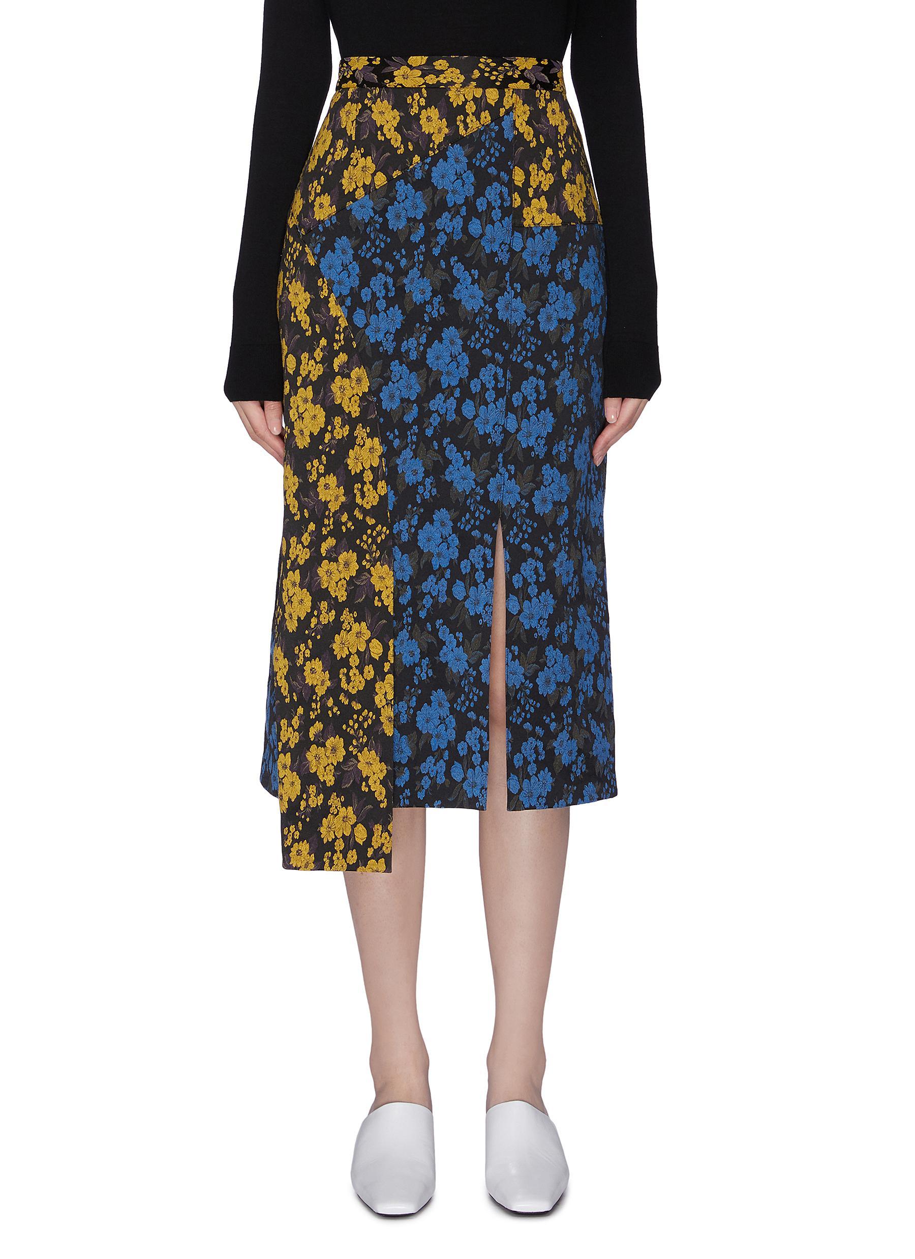 Floral Power colourblock panelled asymmetrical slit skirt by Snow Xue Gao
