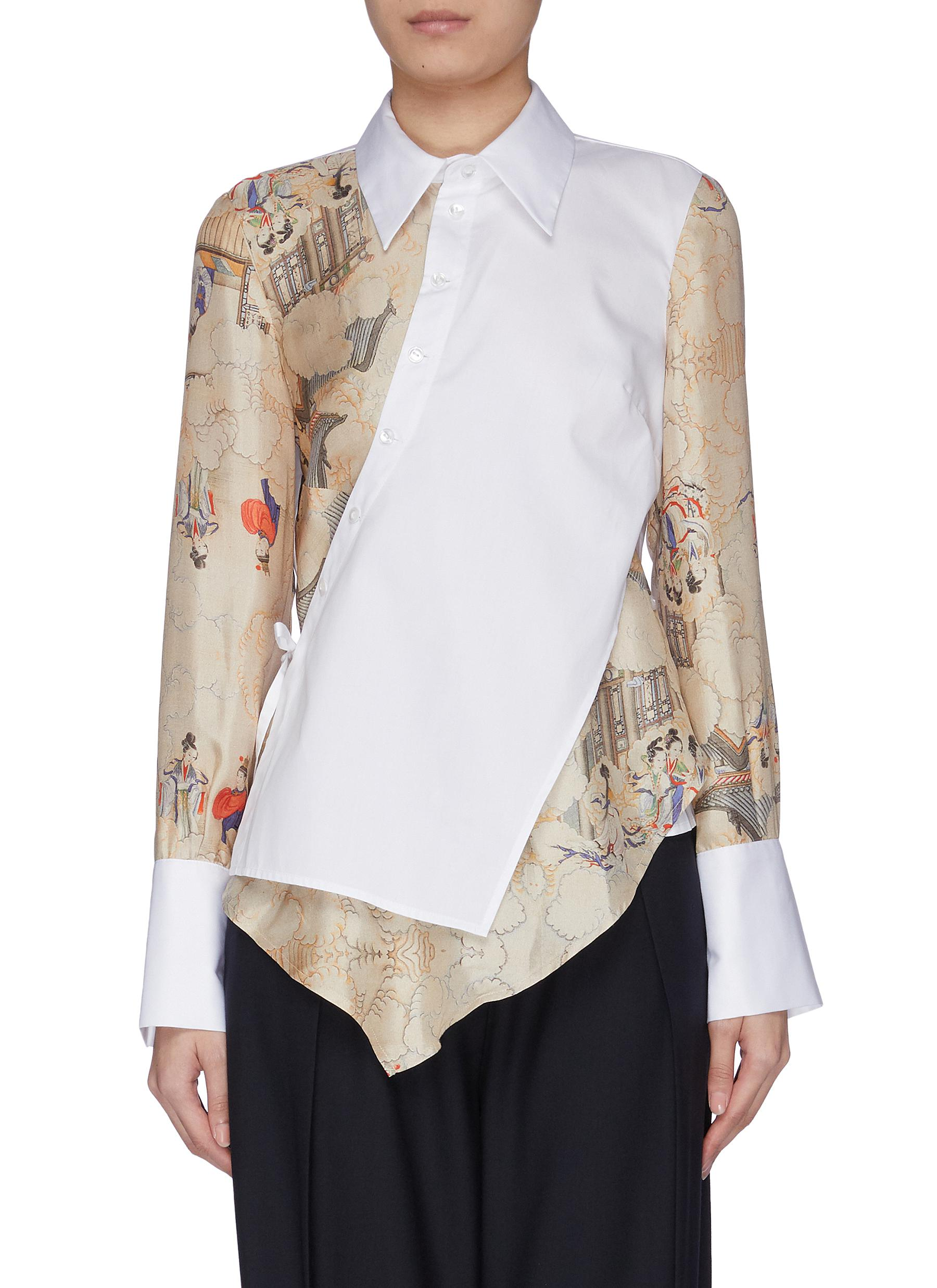 Locust asymmetric placket shirt by Snow Xue Gao