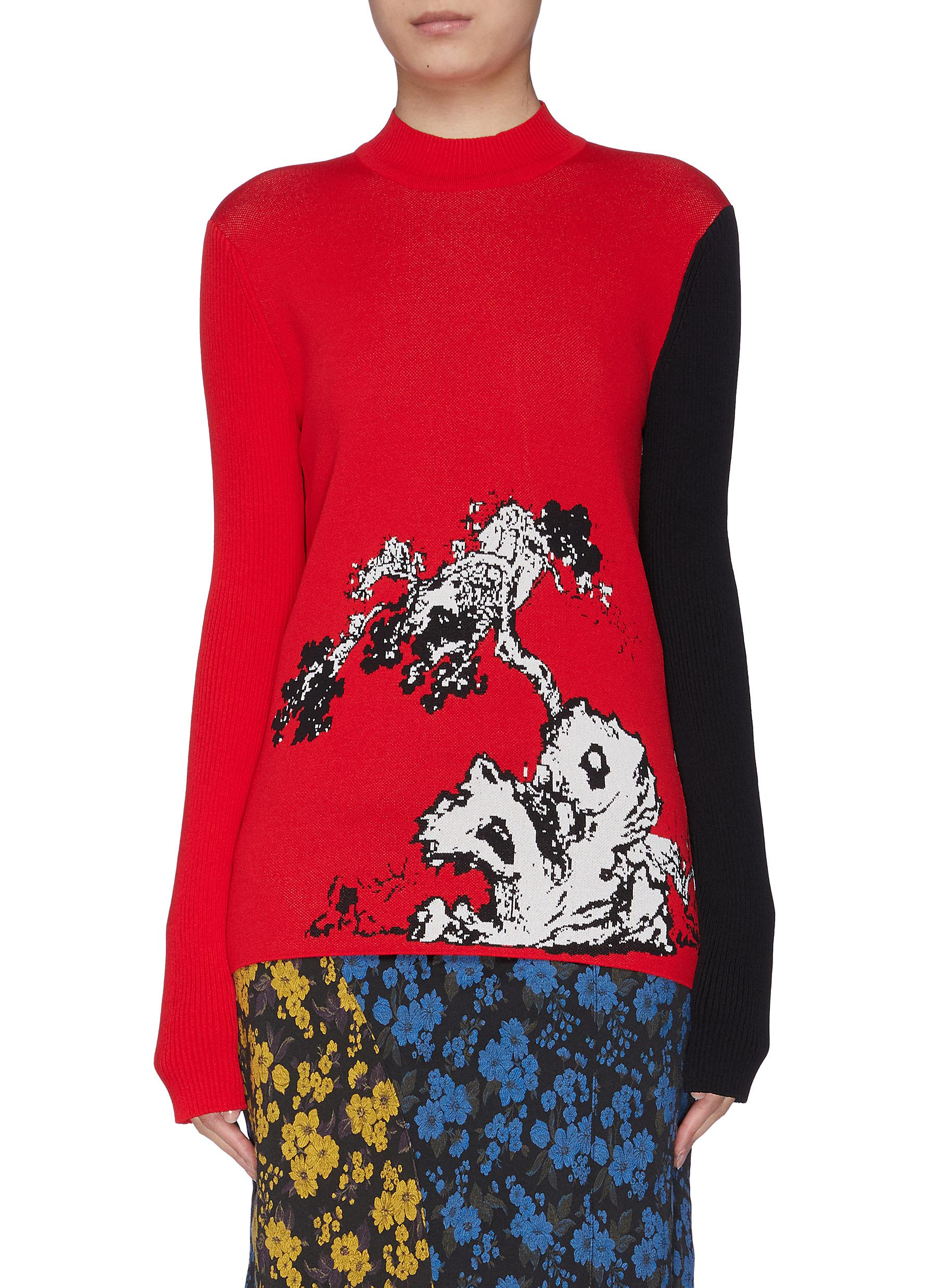 Pinetree contrast sleeve graphic intarsia mock neck sweater by Snow Xue Gao
