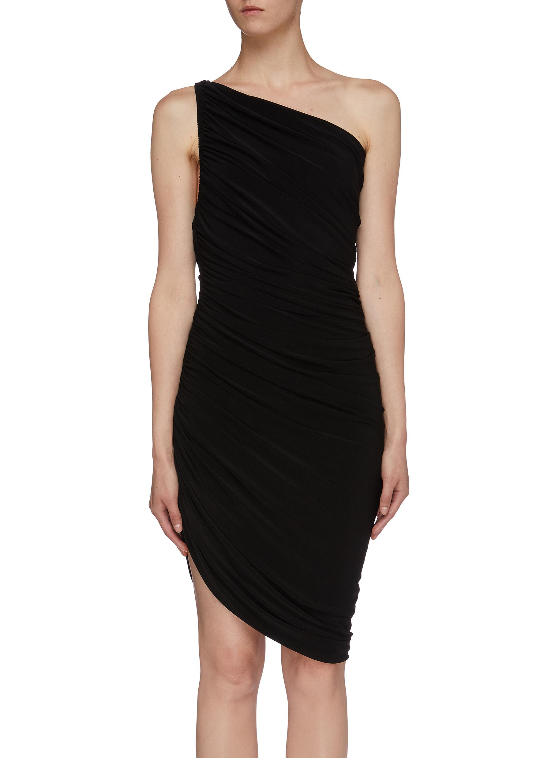 Diana asymmetric ruched one shoulder mini dress by Norma Kamali