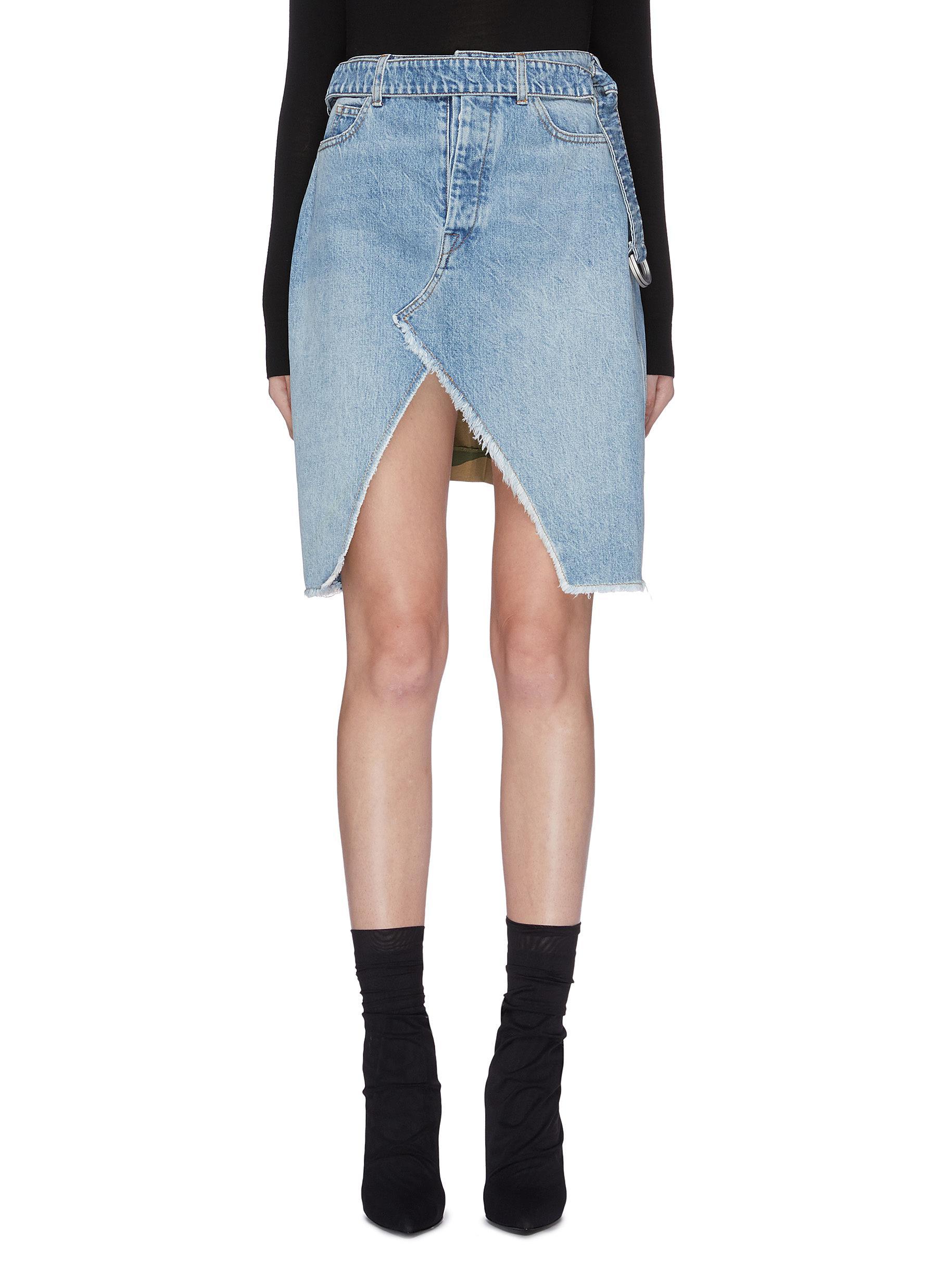 Belted split hem denim panel pleated camoflage skirt by Ben Taverniti Unravel Project
