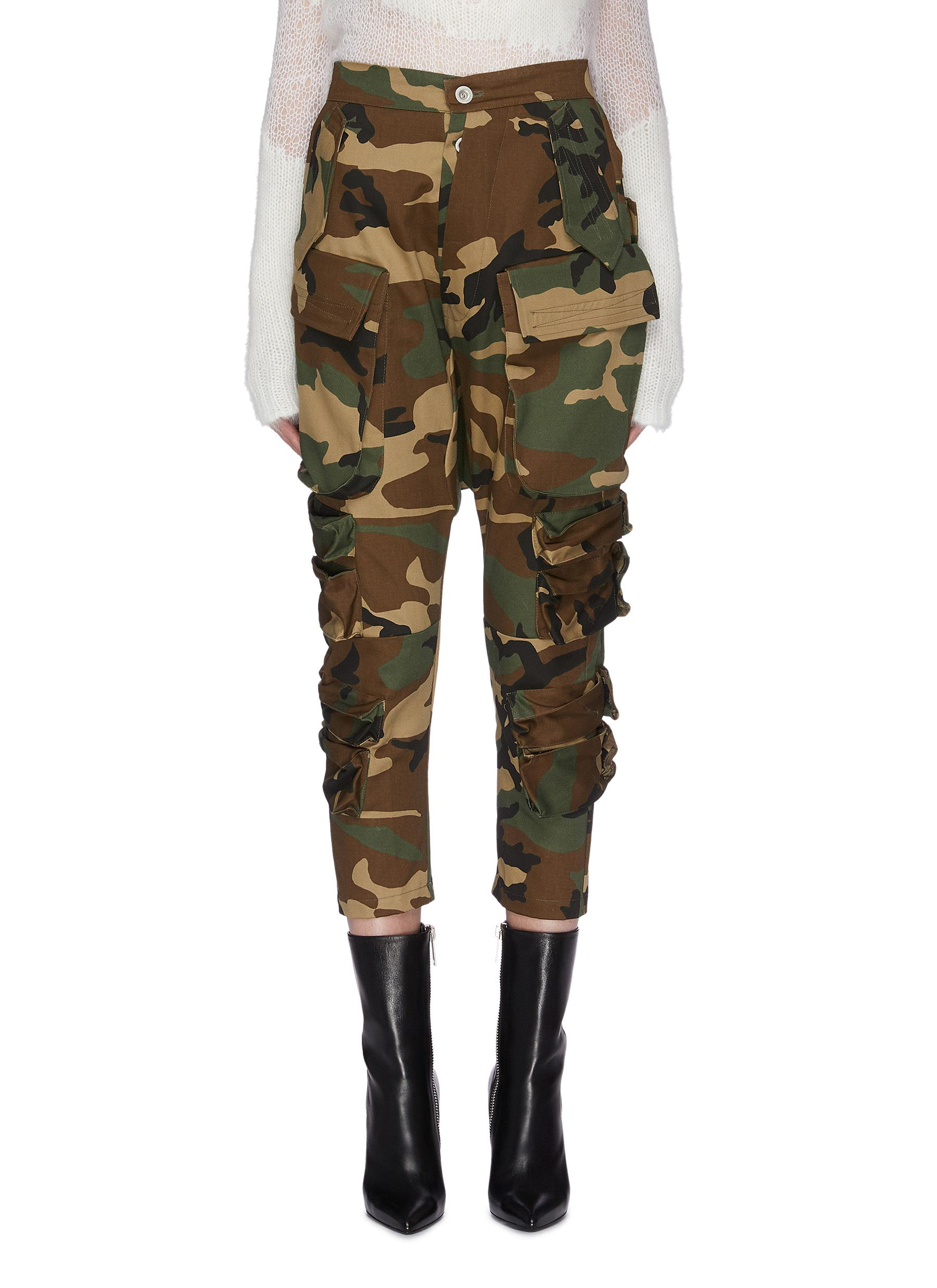 Patch pocket camoflage print cargo pants by Ben Taverniti Unravel Project