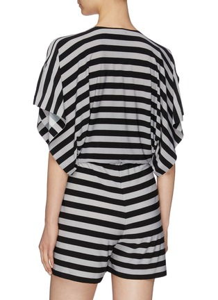 Back View - Click To Enlarge - NORMA KAMALI - 'Rectangle' slit neck kimono sleeve stripe rompers