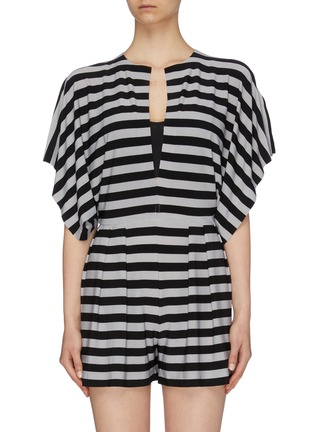 Main View - Click To Enlarge - NORMA KAMALI - 'Rectangle' slit neck kimono sleeve stripe rompers