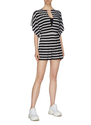Figure View - Click To Enlarge - NORMA KAMALI - 'Rectangle' slit neck kimono sleeve stripe rompers