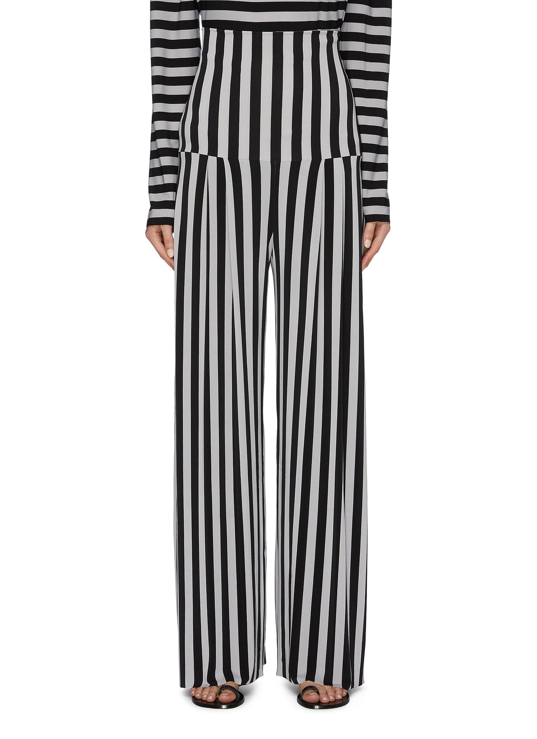 Pleated stripe straight leg pants by Norma Kamali