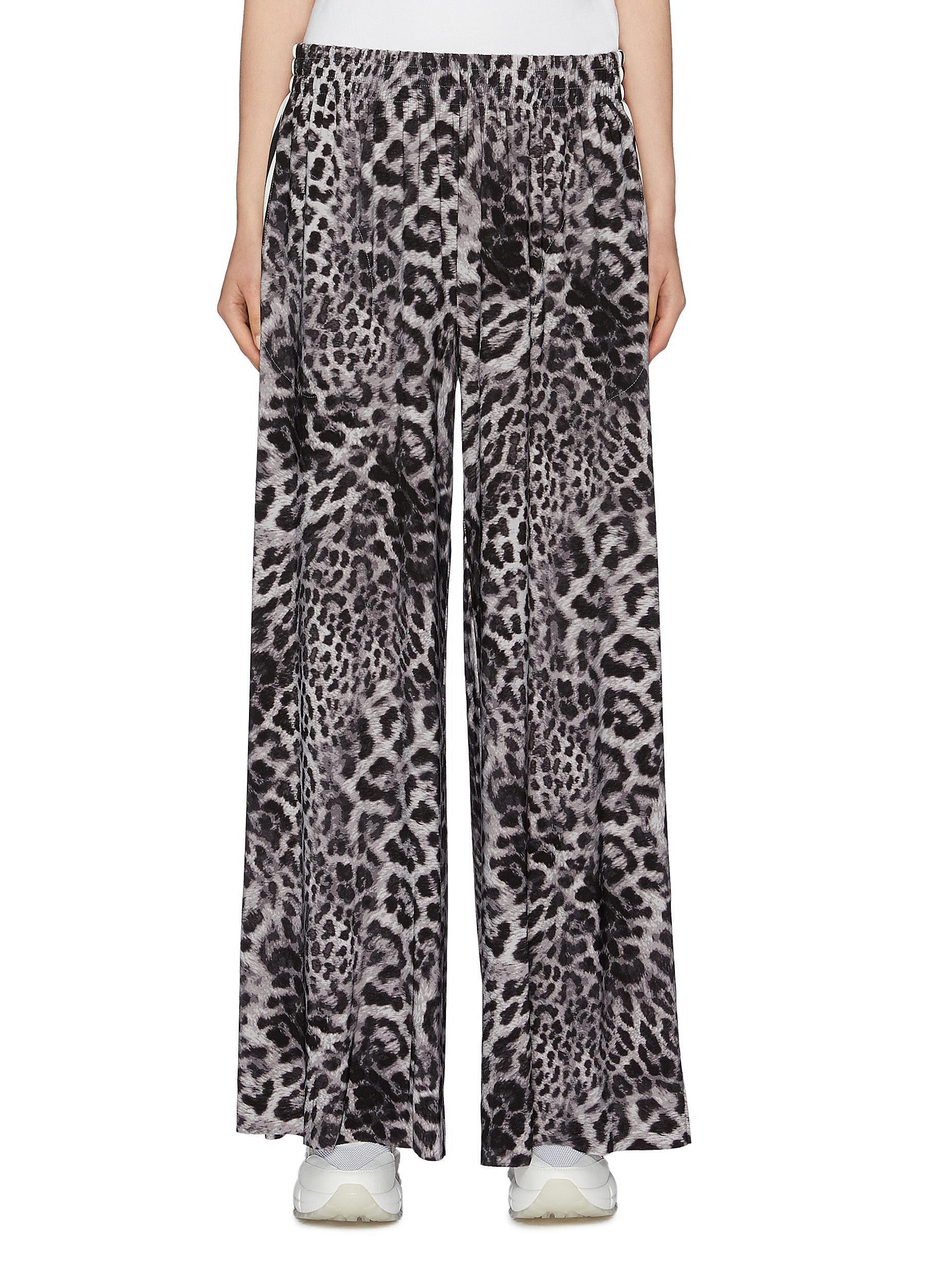 Boyfriend Elephant stripe outseam leopard print sweatpants by Norma Kamali