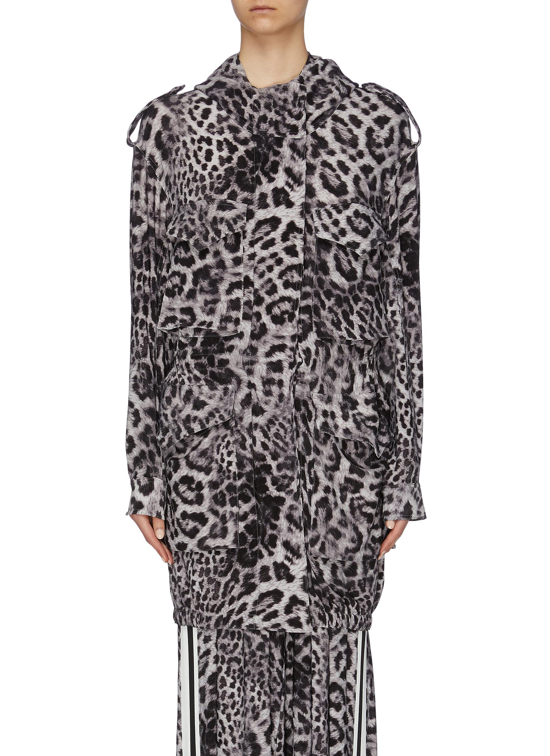 Leopard print hooded cargo jacket by Norma Kamali
