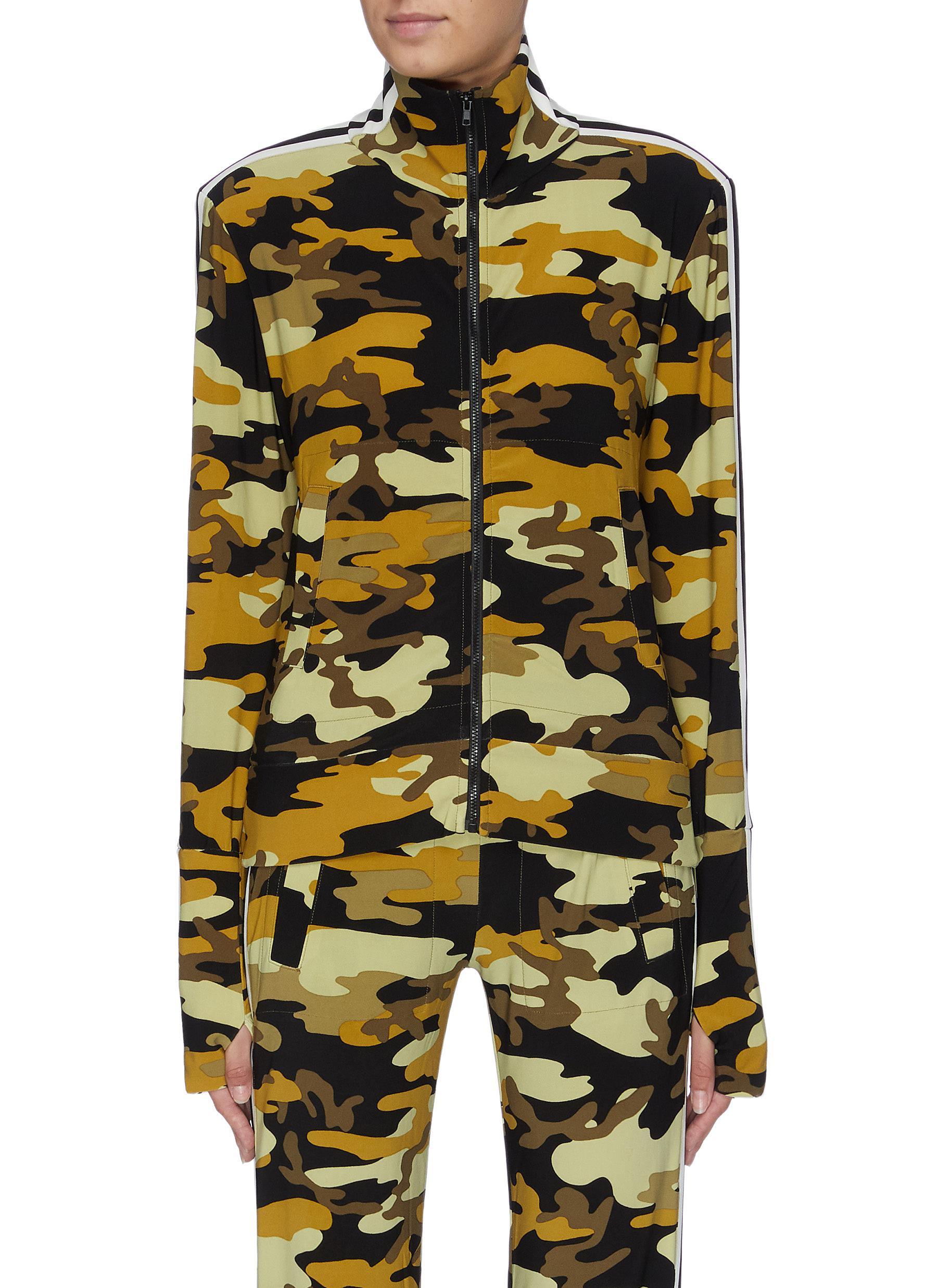 Stripe sleeve camoflage print turtleneck track jacket by Norma Kamali
