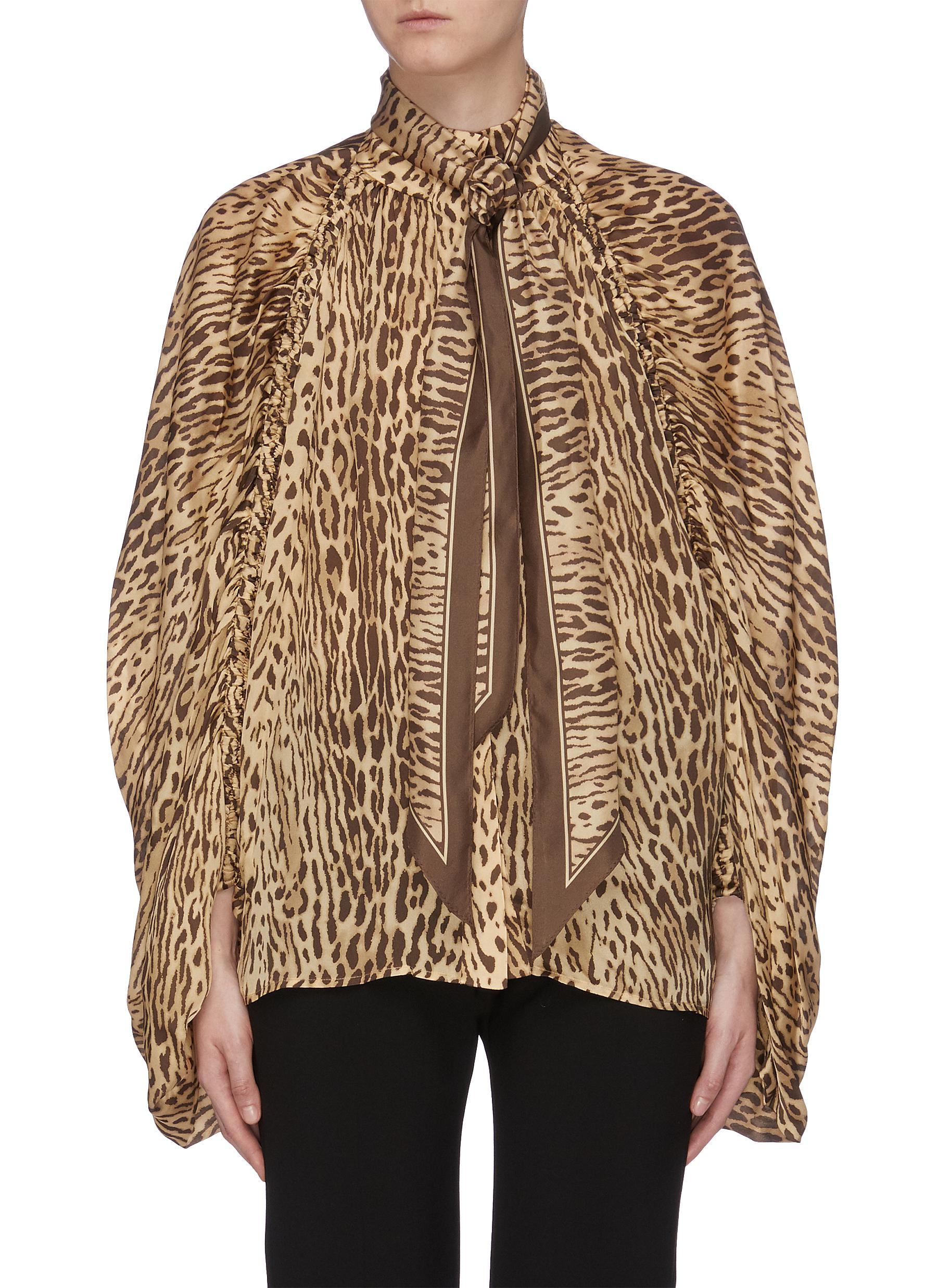 Espionage detachable sash tie neck leopard print silk blouse by Zimmermann