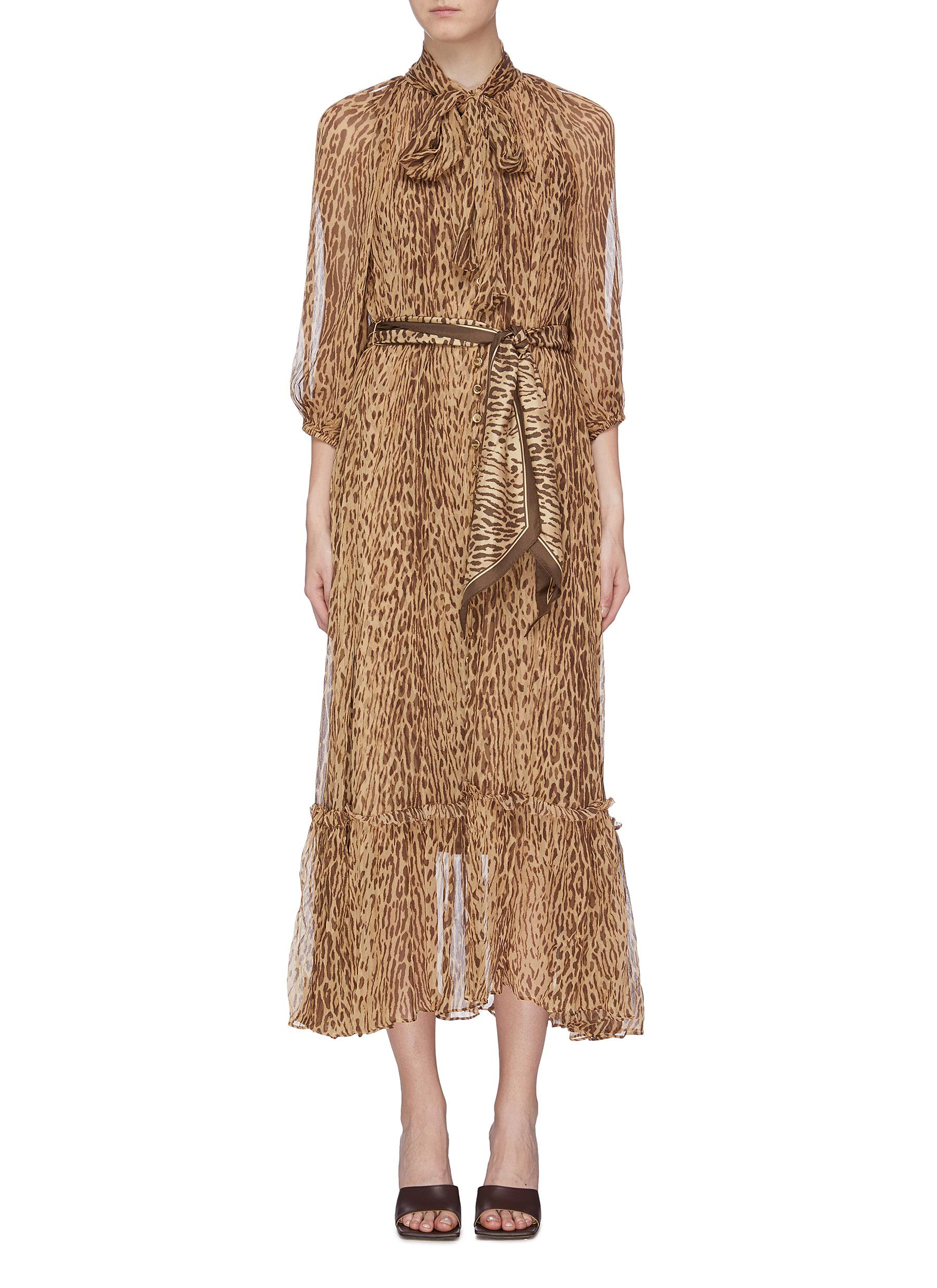 Espionage belted leopard print silk georgette pussybow dress by Zimmermann