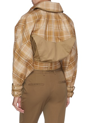 Back View - Click To Enlarge - ZIMMERMANN - 'Sabotage' belted tartan plaid panelled cropped jacket