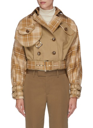 Main View - Click To Enlarge - ZIMMERMANN - 'Sabotage' belted tartan plaid panelled cropped jacket