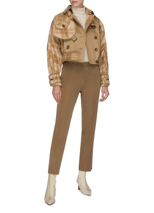 Figure View - Click To Enlarge - ZIMMERMANN - 'Sabotage' belted tartan plaid panelled cropped jacket