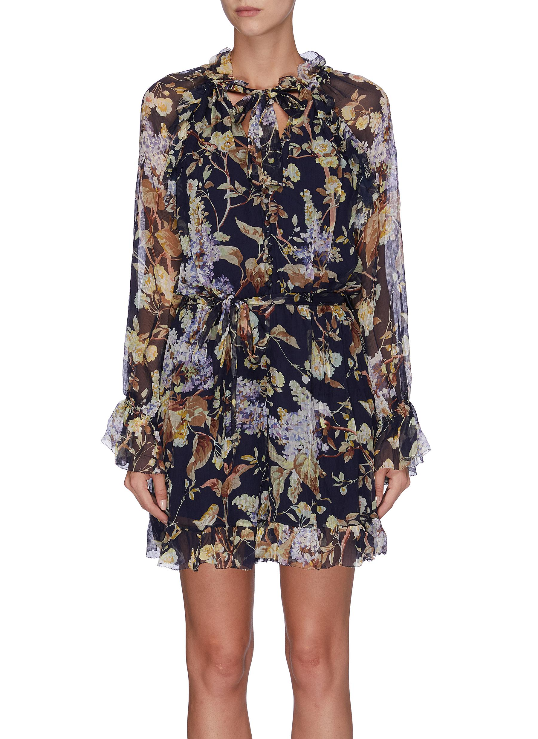 Sabotage belted floral print ruffled playsuit by Zimmermann