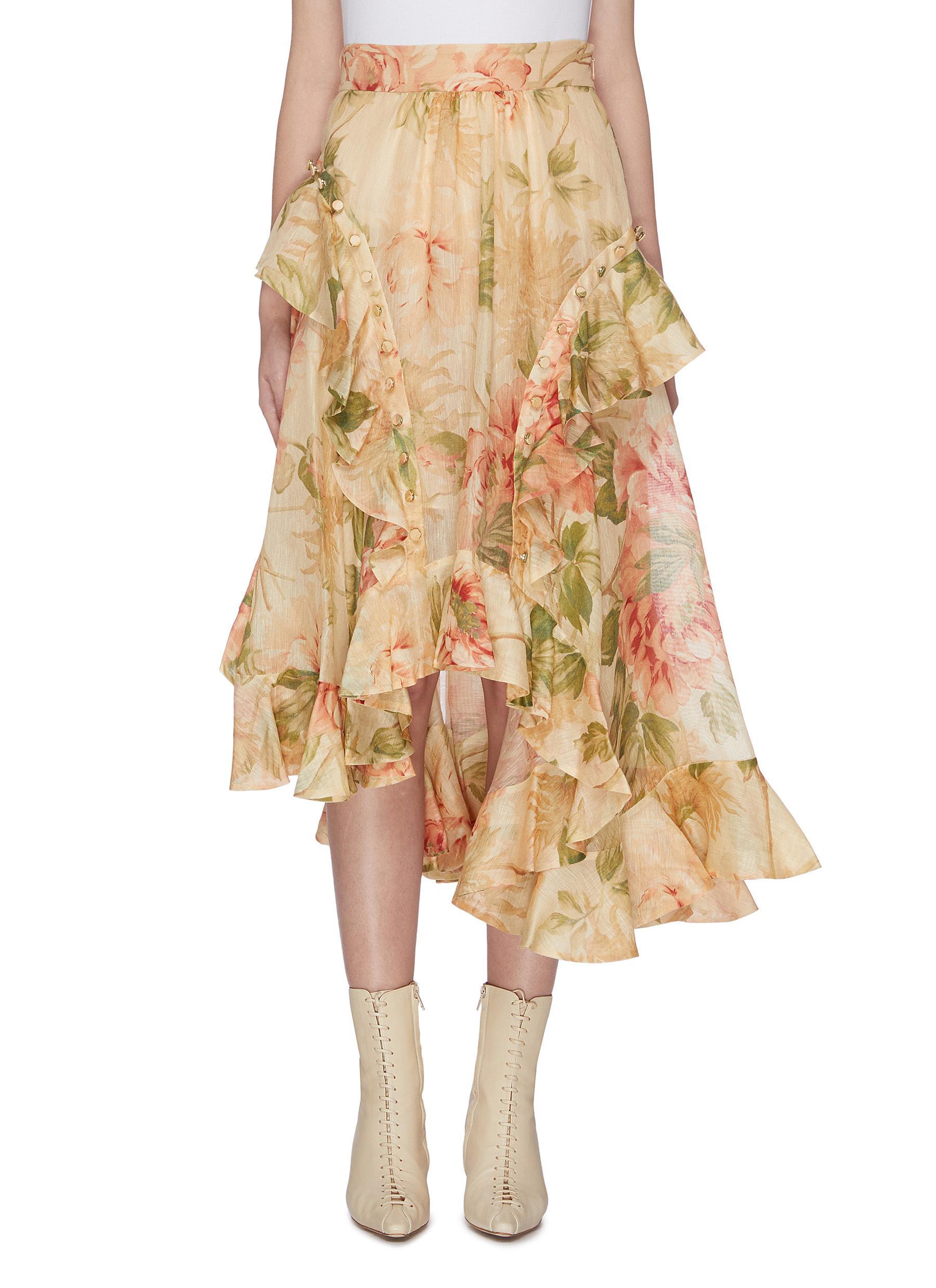 Espionage ruffle trim floral print skirt by Zimmermann