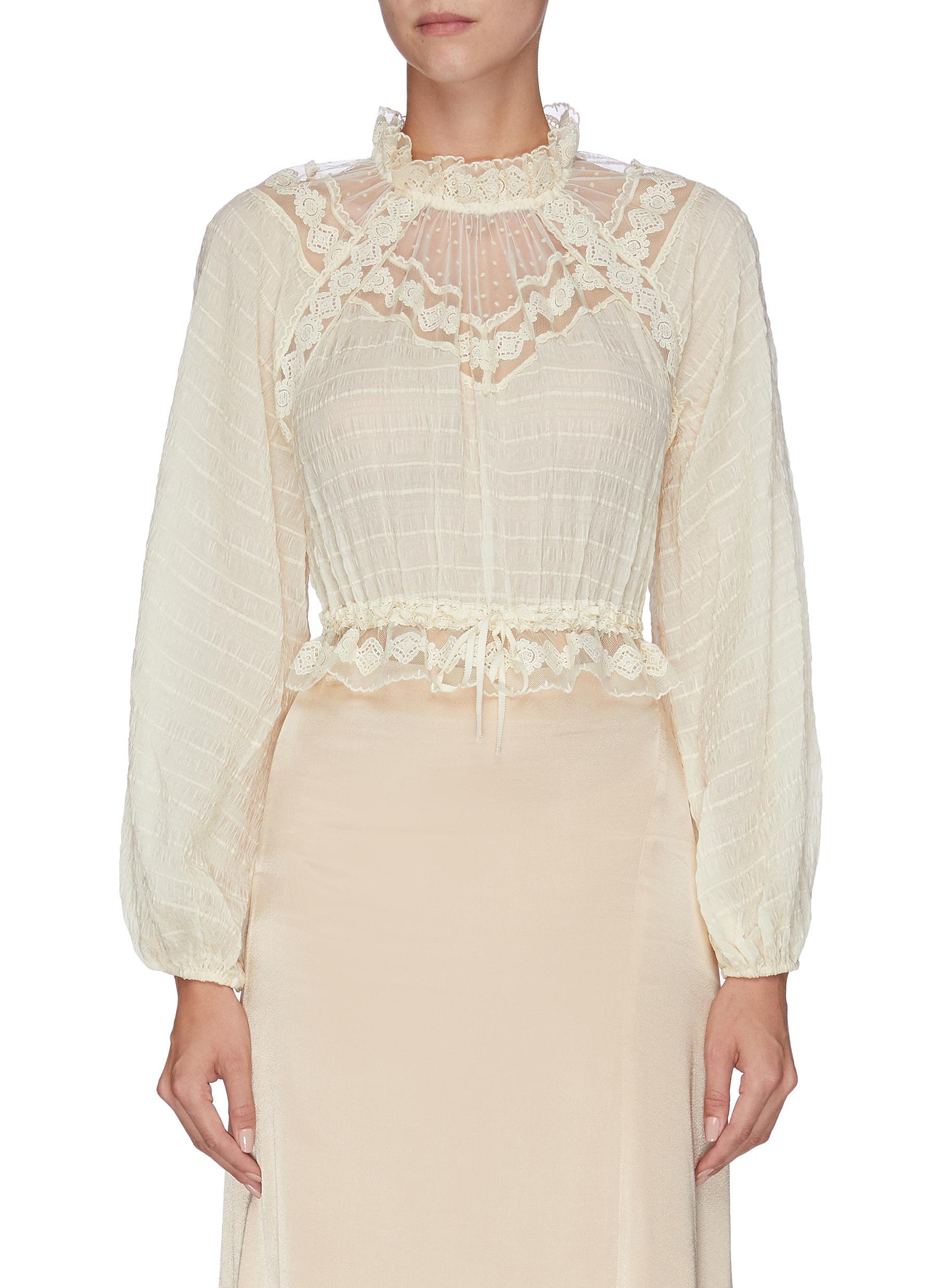 Sabotage laced lantern sleeve blouse by Zimmermann