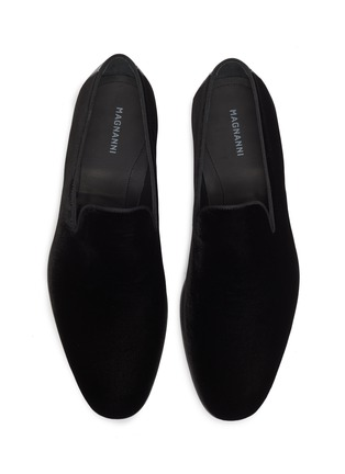 Detail View - Click To Enlarge - MAGNANNI - Leather counter velvet loafers