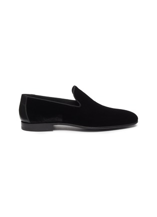 Main View - Click To Enlarge - MAGNANNI - Leather counter velvet loafers