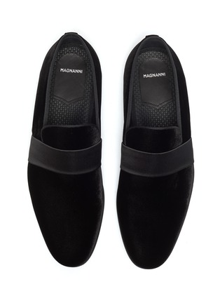 Detail View - Click To Enlarge - MAGNANNI - Satin band velvet loafers