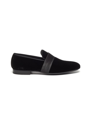 Main View - Click To Enlarge - MAGNANNI - Satin band velvet loafers