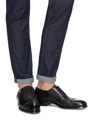 Figure View - Click To Enlarge - MAGNANNI - Panelled leather Oxfords