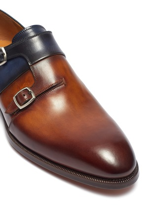 Detail View - Click To Enlarge - MAGNANNI - Colourblock double monk strap leather shoes