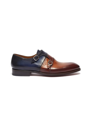 Main View - Click To Enlarge - MAGNANNI - Colourblock double monk strap leather shoes