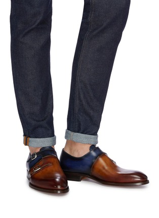 Figure View - Click To Enlarge - MAGNANNI - Colourblock double monk strap leather shoes