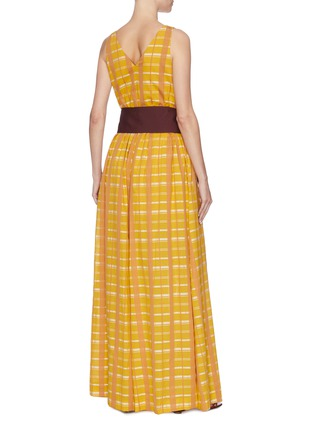 Back View - Click To Enlarge - STAUD - 'Mika' check plaid sash tie waist sleeveless jumpsuit