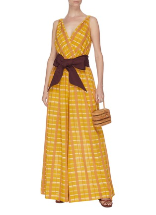 Figure View - Click To Enlarge - STAUD - 'Mika' check plaid sash tie waist sleeveless jumpsuit