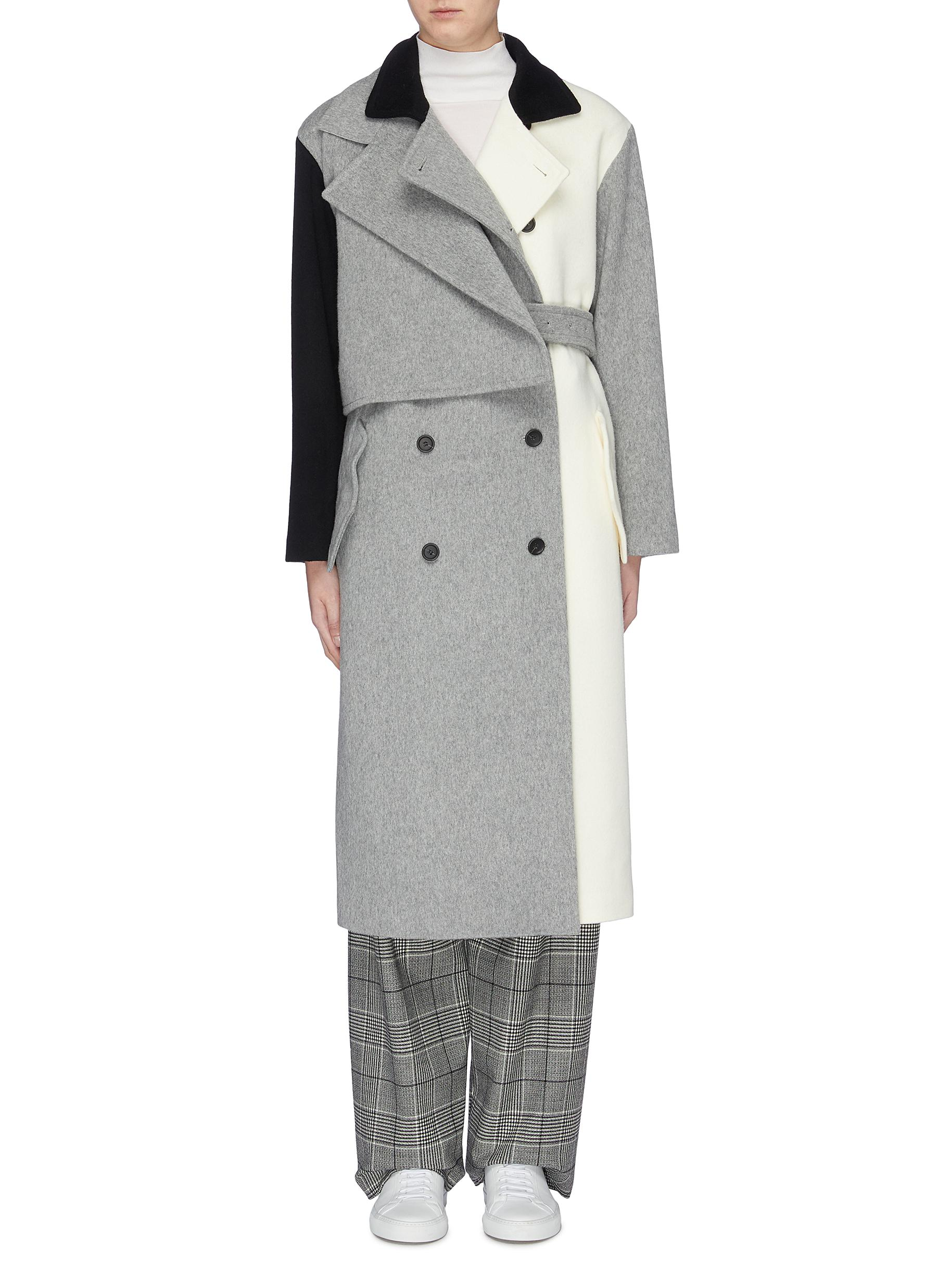 Belted layered colourblock melton trench coat by The Keiji