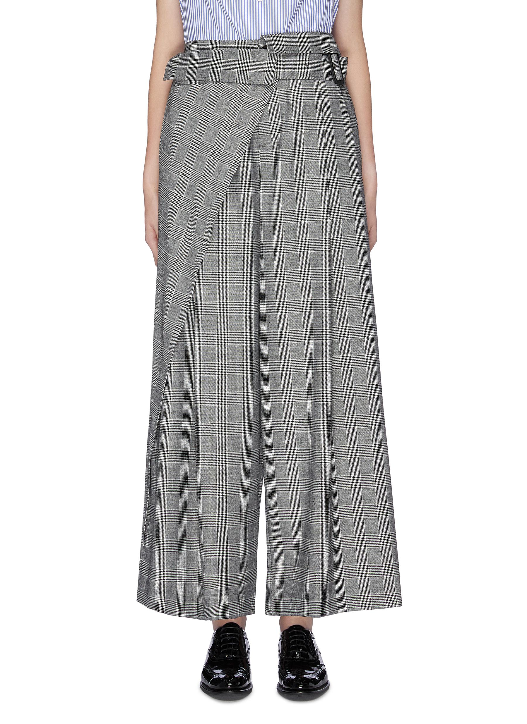 Belted layered panel check plaid wide leg pants by The Keiji